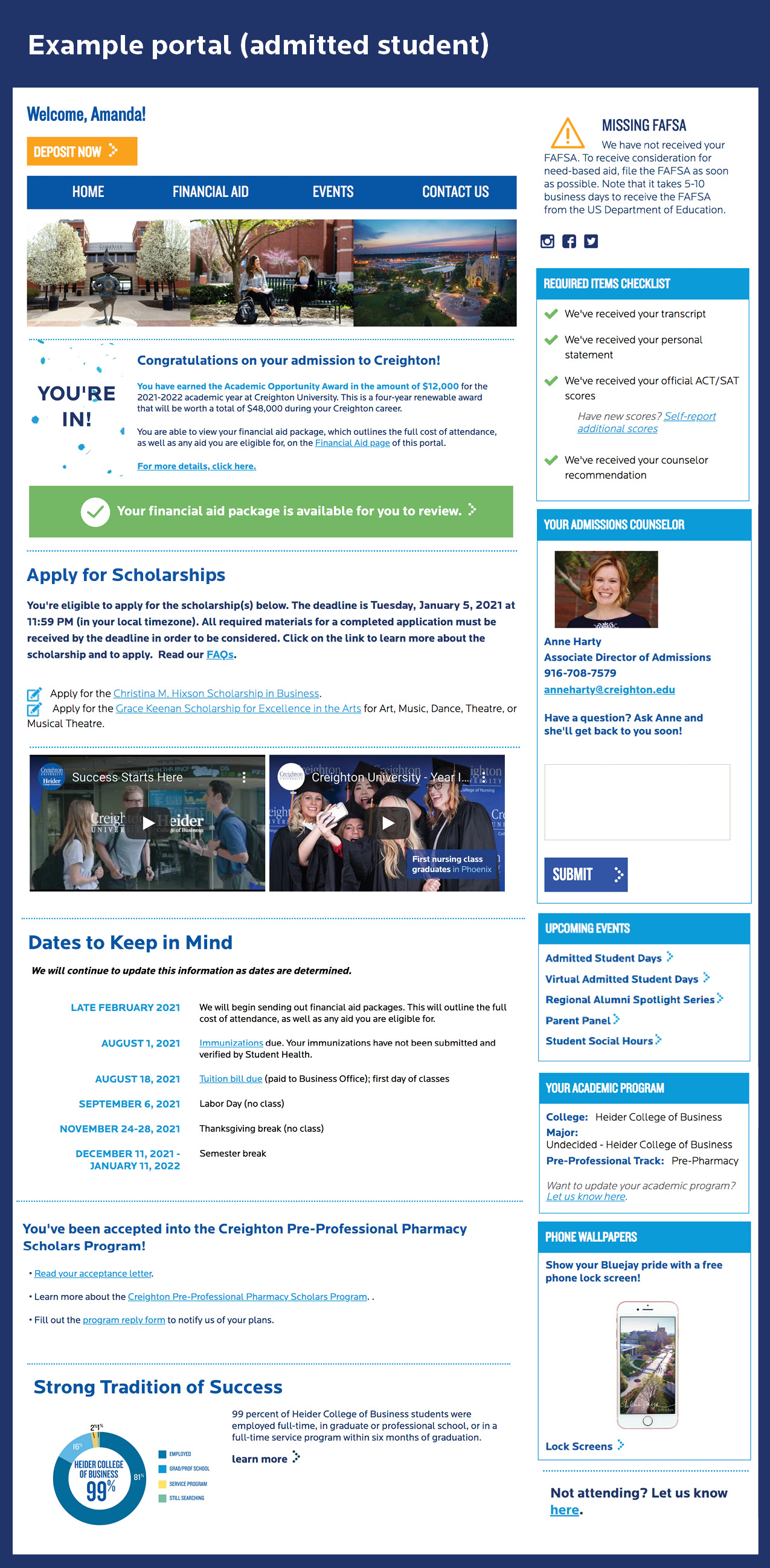 Student portal view for an admitted student